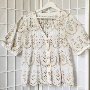 Anthropologie broderie anglaise US10 Blouse